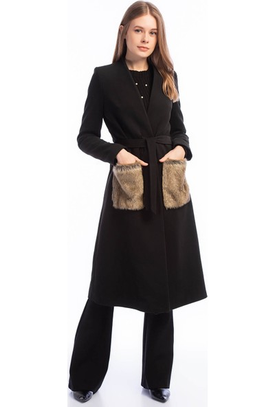 Dewberry Z6363 Kadın Palto Siyah