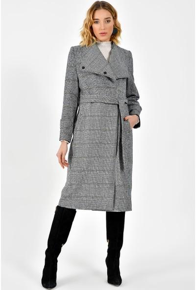 Dewberry Z6627 Ekose Kadın Palto