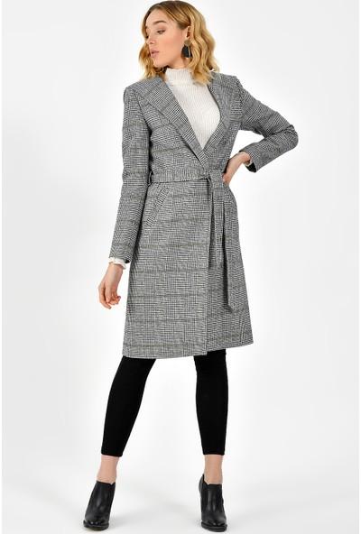 Dewberry Z6631 Kadın Ekoseli Palto
