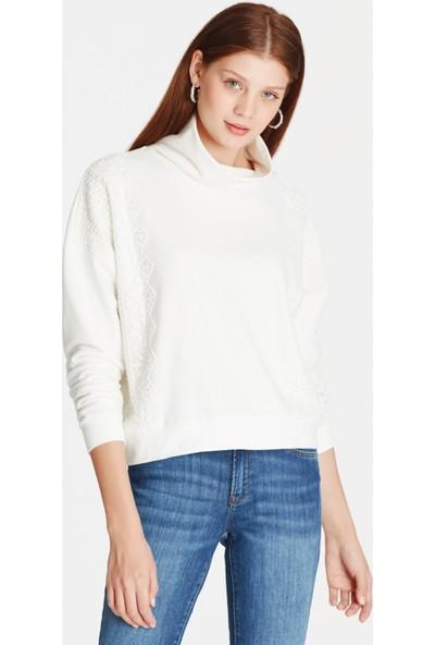 Mavi Dantelli Kadın Sweatshirt