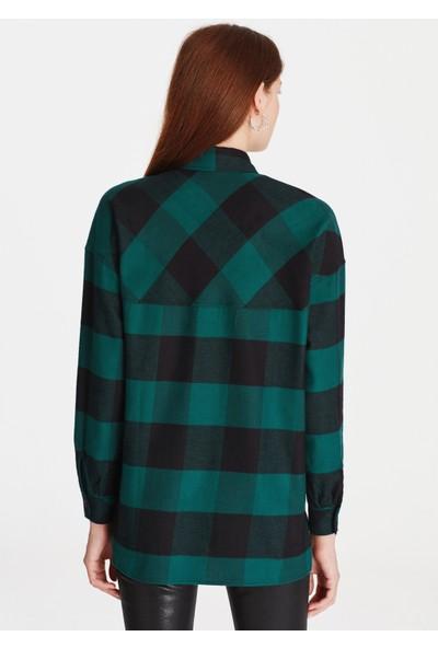 Mavi Kareli Yeşil Kadın Gömlek