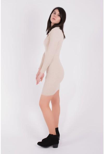 Sam Toni Ön Detaylı Bej Elbise