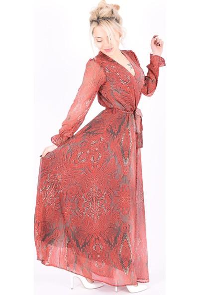 Sam Toni Desenli Kırmızı Elbise