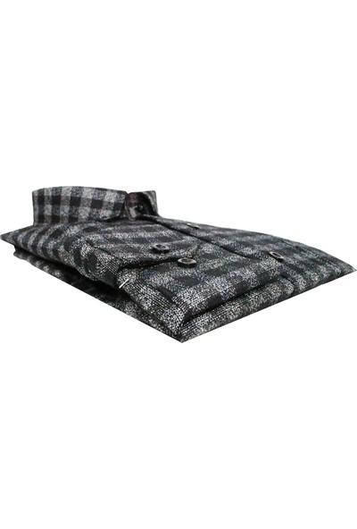 Varetta Klasik Kesim Siyah Kumlu Kışlık Gömlek