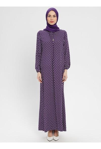 Ginezza Doğal Kumaşlı Puantiyeli Elbise Mor