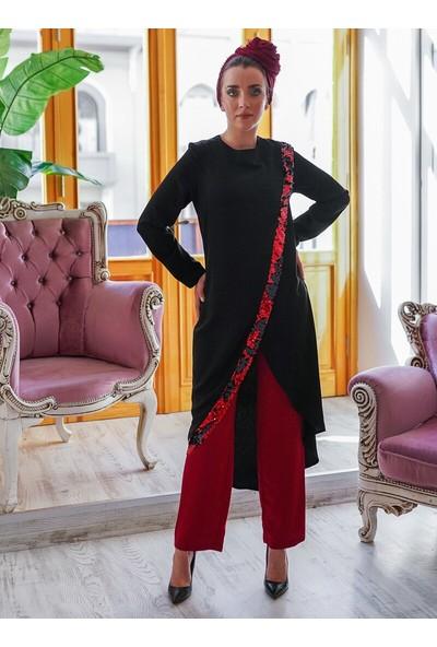 Gizem Kış Hayal Tunik Pantolon İkili Takım Siyah Bordo