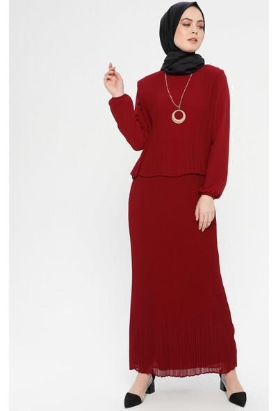 Bürün Piliseli Kolyeli Elbise Bordo