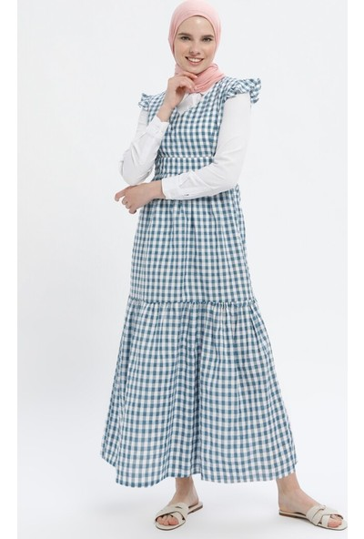 Miscats Kareli Elbise Mavi