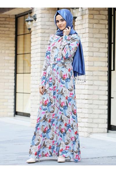 Gizem Kış Doğal Kumaşlı Bahar Elbise Gri
