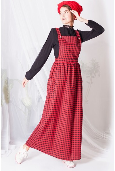 Miscats Pötikareli Salopet Elbise Kırmızı