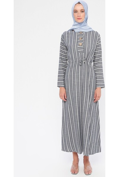 Dadali Beli Bağcıklı Elbise Lacivert