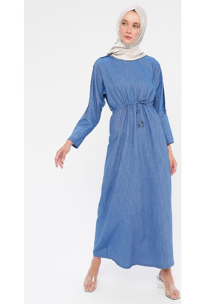 Dadali Beli Bağcıklı Elbise Mavi