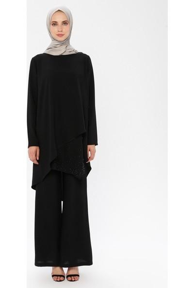 Puane Tunik Pantolon İkili Takım Siyah