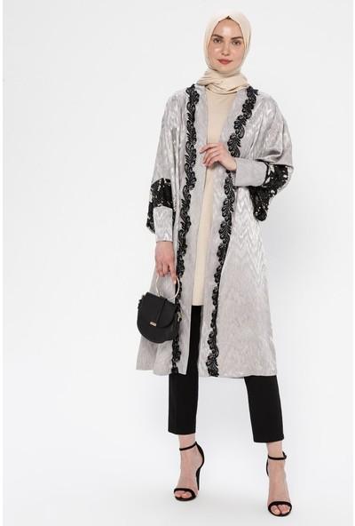 Mileny Payet Detaylı Kimono Ceket Gri