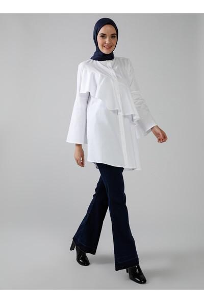 Refka Doğal Kumaşlı Volan Detaylı Gömlek Beyaz Modanisa