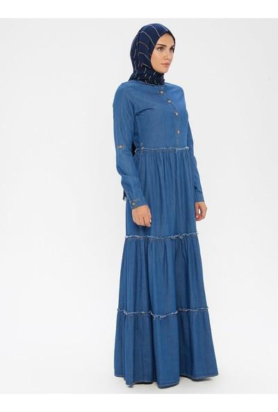 Bürün Düğme Detaylı Kot Elbise Mavi