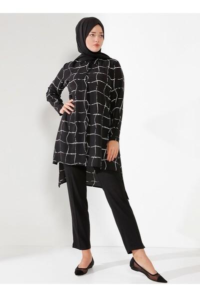 Nilüfer Kamacıoğlu Gömlek Tunik Siyah Beyaz