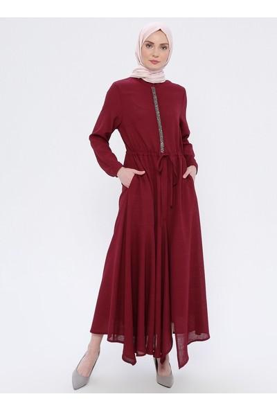 Nilüfer Kamacıoğlu Taş Detaylı Keten Elbise Mürdüm