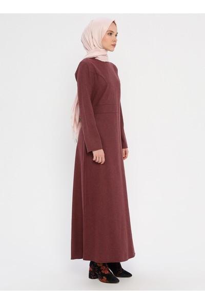 Miscats Sırtı Fermuarlı Elbise Bordo