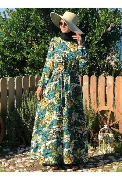 Kübra Biriktir Kumsal Çiçekli Elbise Yeşil