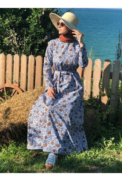 Kübra Biriktir Su Elbise Mavi Desenli