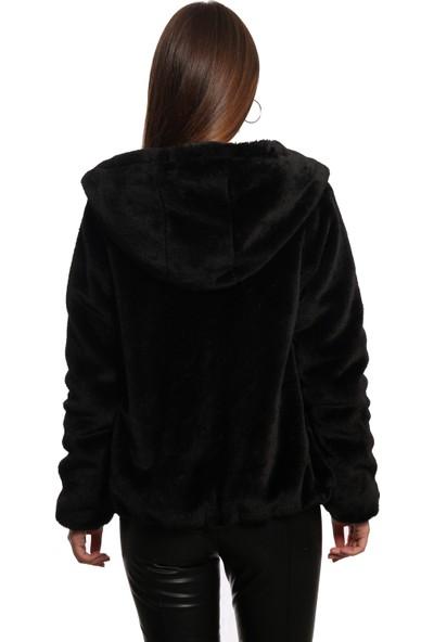 Sems Kadın Kapüşonlu Peluş Mont 5151 Siyah