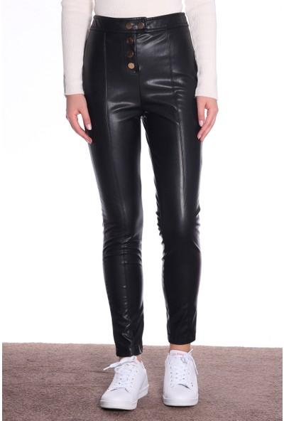 Dilvin Kadın Deri Pantolon Çıtçıt Detaylı PA7869 Siyah