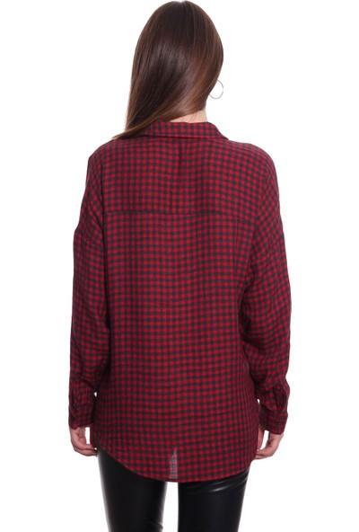 Pinaldi Uzun Kollu Kadın Gömlek 18-9722 Bordo
