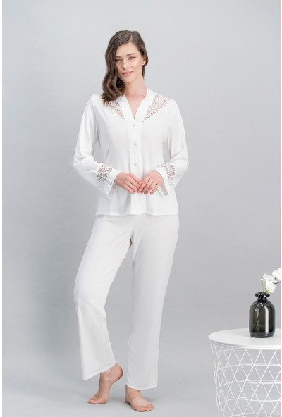 Arnetta Queen Bride Ekru Kadın Cuplı Uzun Gecelik - Sabahlık - Gömlek Pijama - Şort Takım Gelin 6'Lı Çeyiz Seti