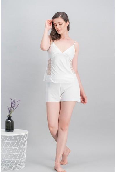 Arnetta Flower Bride Ekru Kadın Cuplı Gecelik - Sabahlık - Gömlek Pijama - Şort Takım Gelin 6'Lı Çeyiz Seti