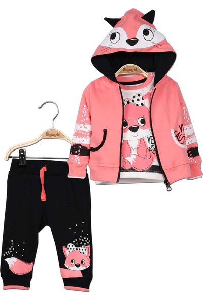 Miniworld Kız Bebek Hırka Sweatshirt Pantolon 3'lü Takım 9 - 12 Ay