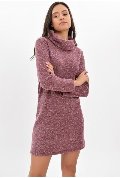 Miss Lusi 9427109 Makarna Degaje Yaka Uzun Kol Elbise