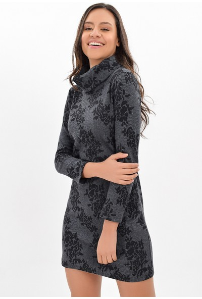 Miss Lusi 94271091 Balıksırtı Büyük Gül Desen Degaje Yaka Uzun Kol Elbise