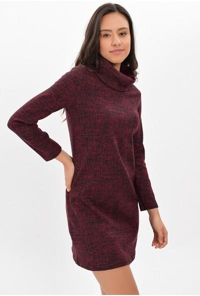 Miss Lusi 94271092 Cam Kırığı Desen Degaje Yaka Uzun Kol Elbise