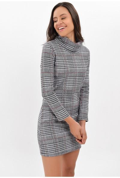 Miss Lusi 94271093 Ekose Desen Degaje Yaka Uzun Kol Elbise