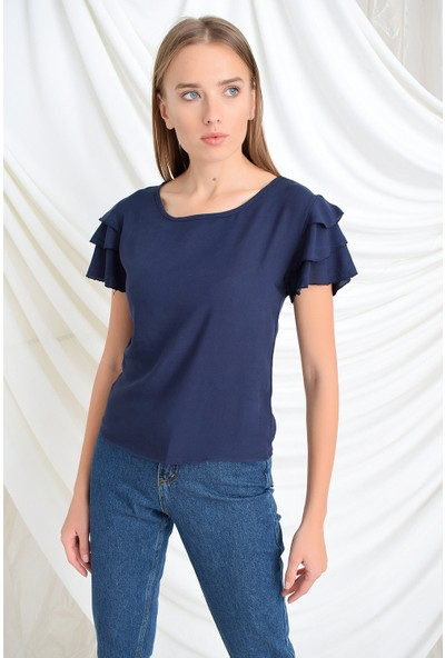 Miss Lusi 94022011 Kobe Fırfırlı Kısa Kol Bluz