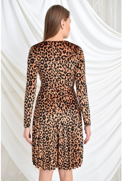 Miss Lusi 9391731 Kadife Desen Kruvaze Yak Eteği Pliseli Uzun Kol Elbise