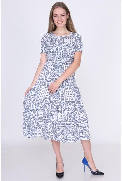 Miss Lusi 9381659 Dok.Viskon Desenli Beli Lastik Kısa Kol Uzun Elbise