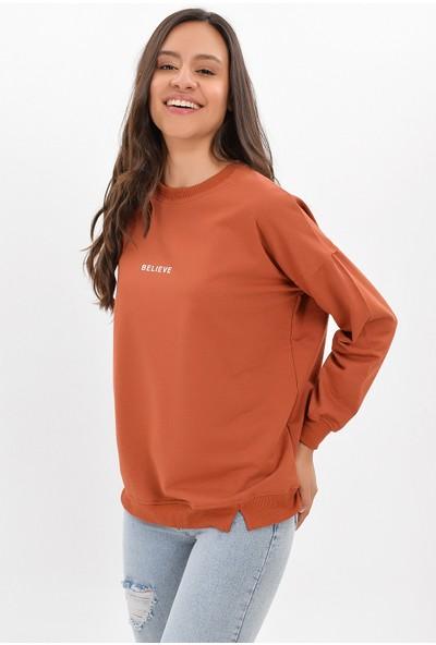 Miss Lusi 9422743 İki İplik Believe Baskılı Uzun Kol Bluz