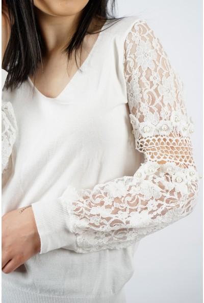 SpringStore Kadın Kolları Dantelli Bluz