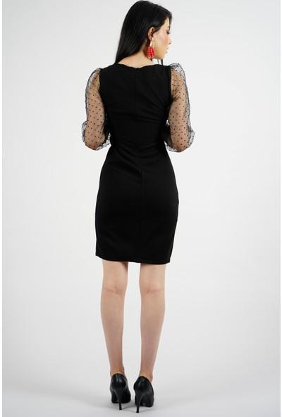 SpringStore Kadın Kolları Tül Kısa Elbise