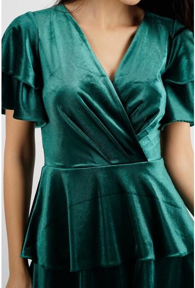 SpringStore Kadın Kısa Kadife Elbise