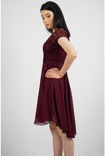 SpringStore Kadın Kısa Güpür Detaylı Abiye
