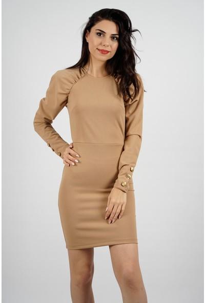 SpringStore Kadın Kolları Düğme Detaylı Elbise