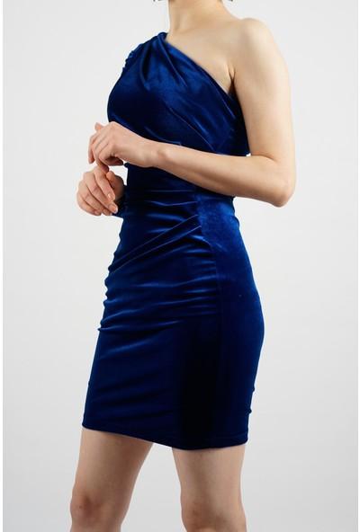 SpringStore Kadın Tek Omuz Kadife Elbise