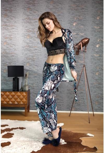 Anıl Kadın Dantel Detaylı Büstiyer Pantolon Sabahlık 3'lü Takım AN5516