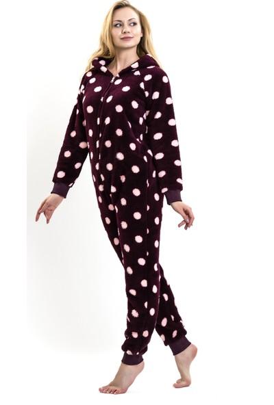 Lingabooms 1503 Kadın Pijama Kışlık Fermuarlı Tulum