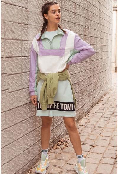 Tommy Life Baskılı Açık Mavi Spor Elbise