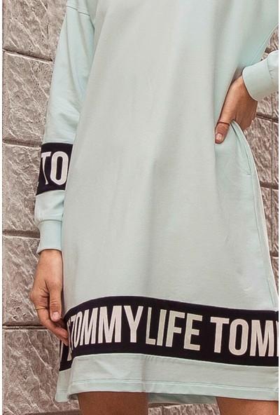 Tommy Life Baskılı Açık Mavi Kadın Spor Elbise