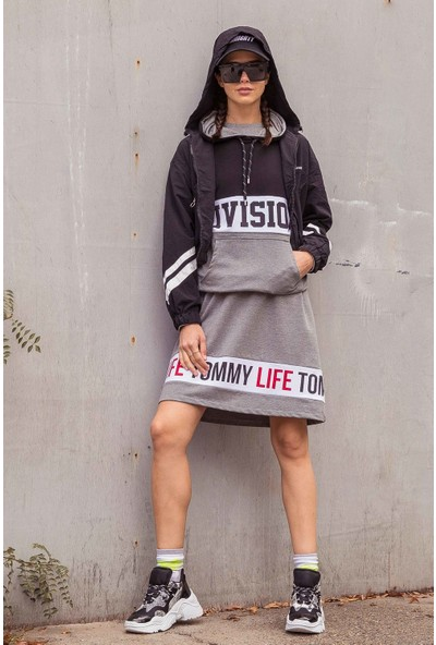 Tommy Life Baskılı Gri Melanj Spor Elbise